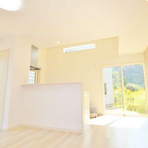 キッチン後ろに取付けた天窓からの明かりでリビングはさらに明るくなります